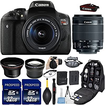 Canon EOS Rebel T6i DSLR Camera with 18-55mm IS STM Lens + Kit Includes, 58mm HD Wide Angle Lens + 2.2x Telephoto Lens + 2Pcs 32GB Commander Memory Cards + Backpack Case + Grip Strap + Cleaning Kit
