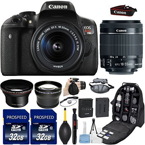 Canon EOS Rebel T6i DSLR Camera with 18-55mm IS STM Lens + Kit Includes, 58mm HD Wide Angle Lens + 2.2x Telephoto Lens + 2Pcs 32GB Commander Memory Cards + Backpack Case + Grip Strap + Cleaning - Wide Strap Canon