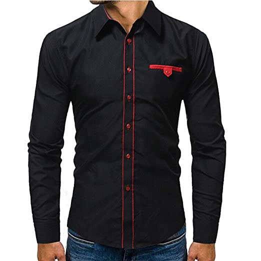 a24a3ed112b300 GETHIS Men s Contrast Dress Shirt Button up Slim Fit Long Sleeve Casual  Button Down Shirts Blouse
