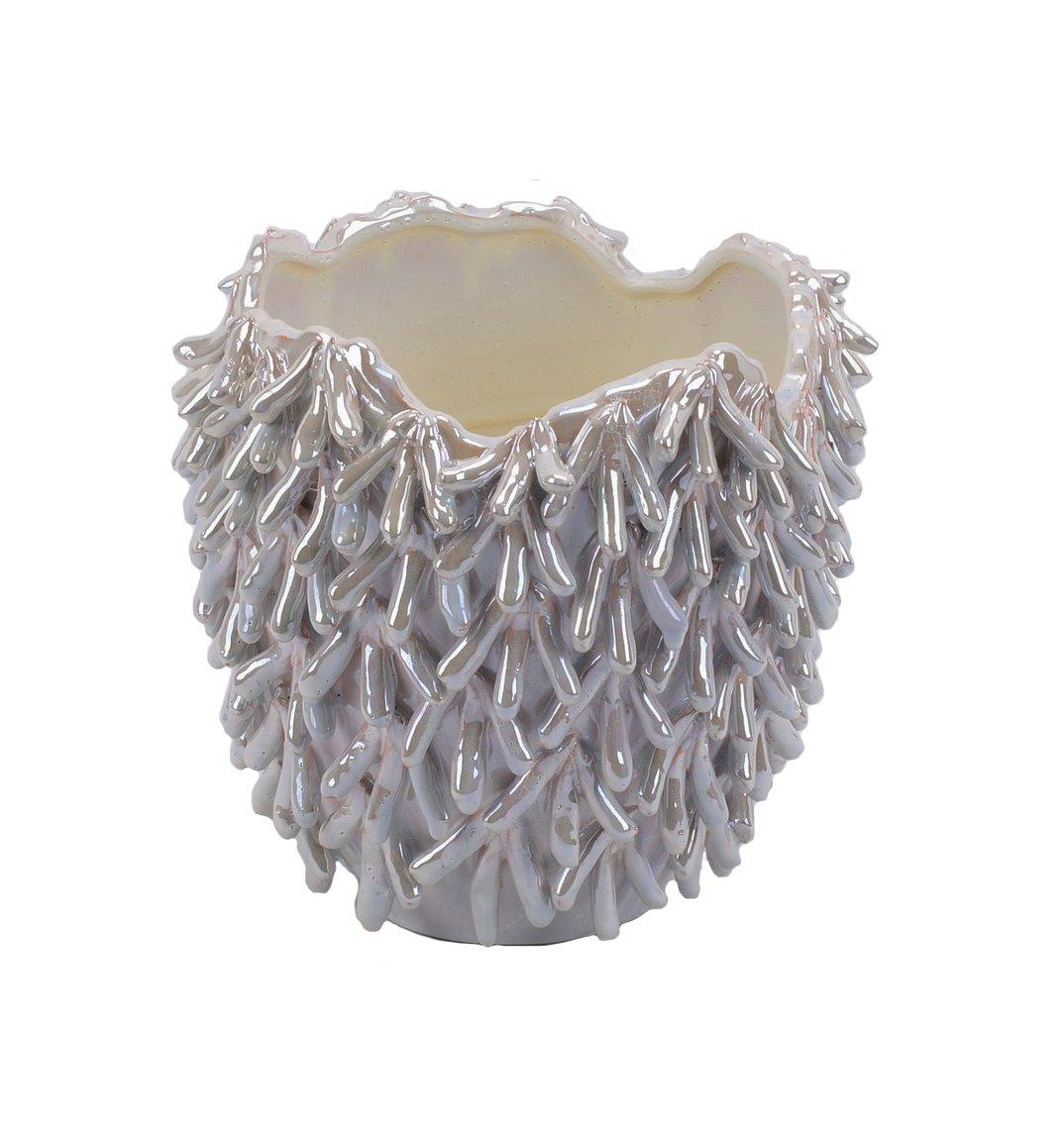 Sagebrook Home 10636 Decorative Ceramic Sea Urchin Vase 7.25 x 7.25 x 9.5 Inches Beige Ceramic