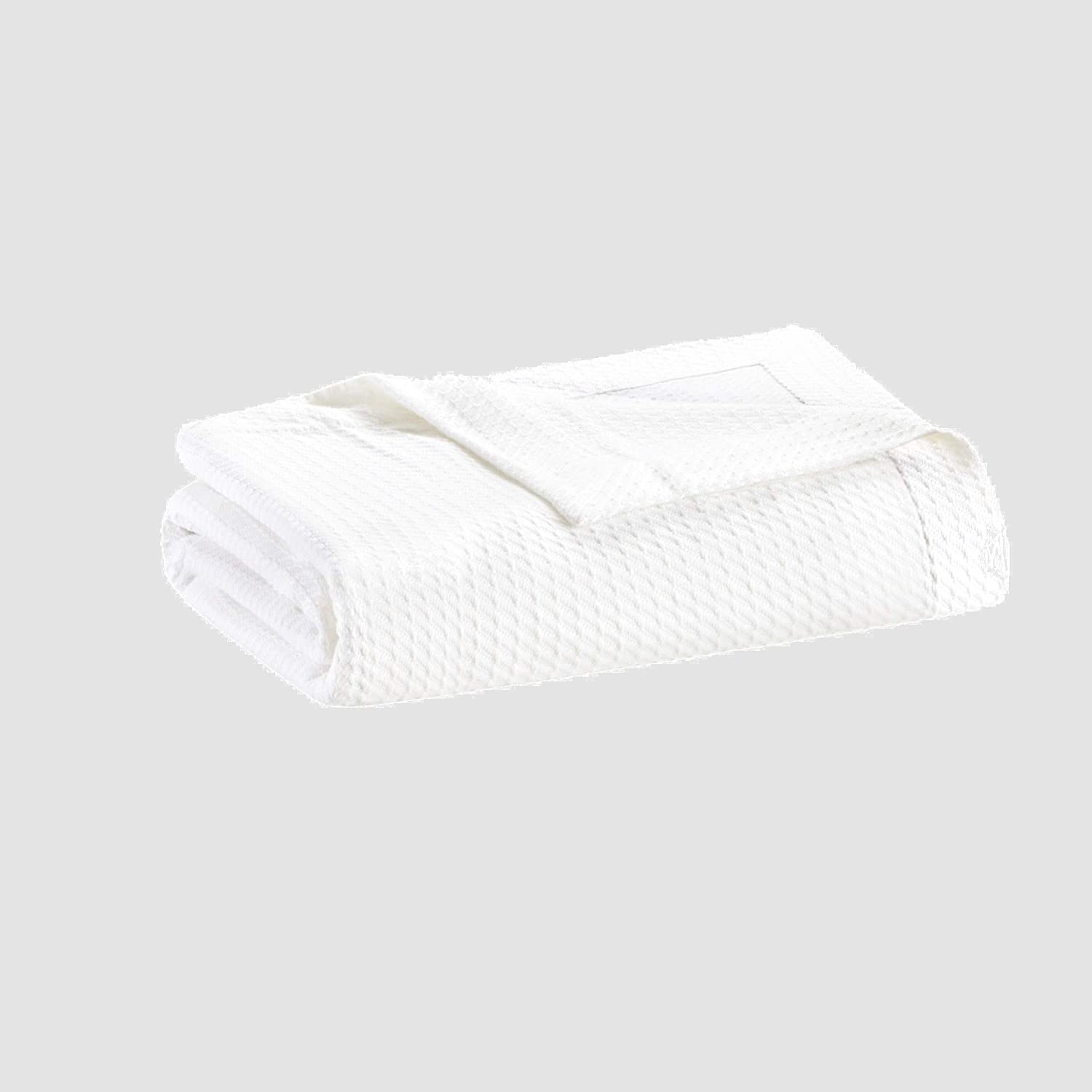 Madison Park Egyptian Cotton Luxury Blanket White 108x90 King Size Knit Premium Soft Cozy 100% Cerified Egyptian Cotton For Bed, Couch or Sofa