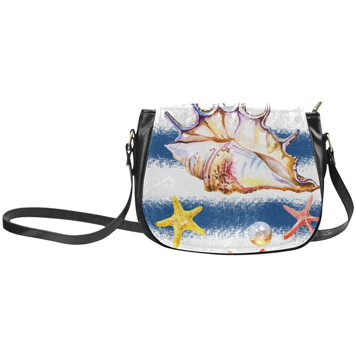 InterestPrint Custom Seashell Starfish Saddle Bag/Shoulder Bag for Women Girls