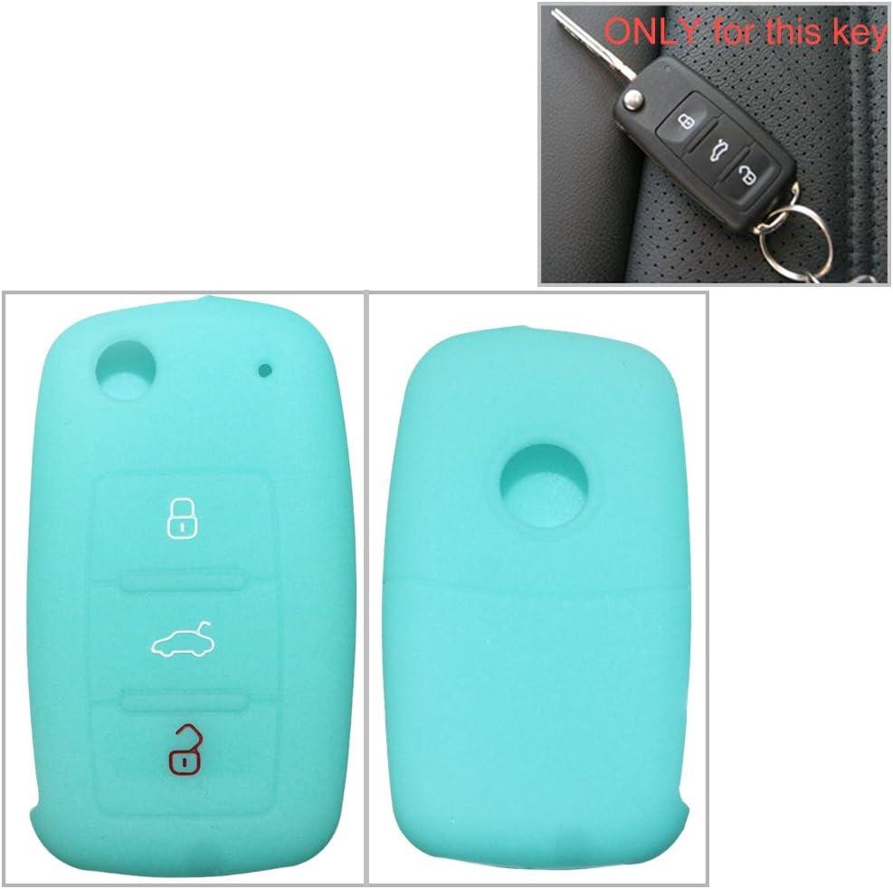 con aislamiento funda para klapps chlu Essel Carcasa Llave para llaves 3/botones for VW for Skoda 1pc Claro Azul Silicona Key Cover Case Carcasa Seat Llave de llave fija