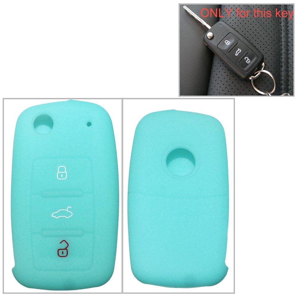 Silicona Key Cover Case Carcasa Seat Llave de llave fija (con aislamiento funda para klapps chlu Essel Carcasa Llave para llaves 3 botones for VW for Skoda 1pc Claro Azul tuqiang