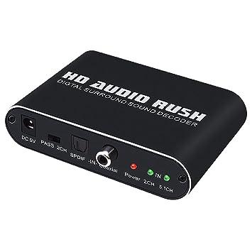 Homyl 5.1Canales HD Audio Rush Audio Digital Sound Decode Optical SPDIF/ Coaxial Dolby AC3