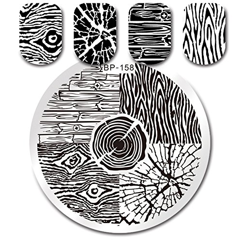 (BORN PRETTY Round Stamping Plate Tree Ring Wood Grain manicuring Nail Art Image Plate BP-158)