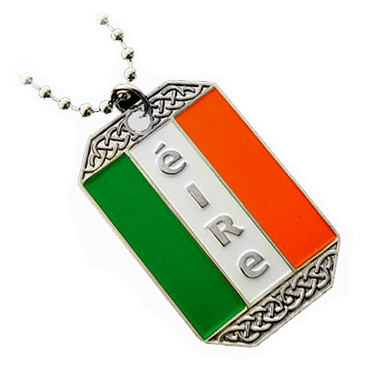 amazon com ireland flag irish pendant eire dog tag ball chain