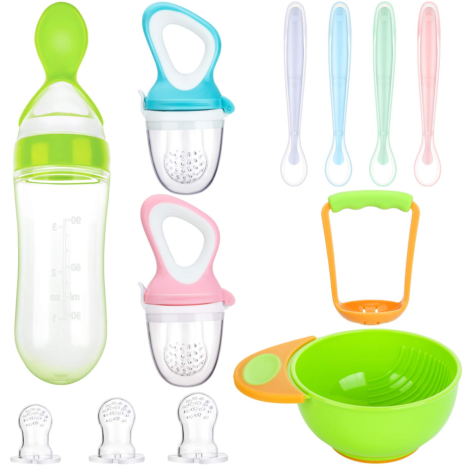 11 Piece Food Feeder Baby Teething Pacifiers Mash and Serve Bowl Silicone Food Dispensing Spoon 4 Soft-Tip Silicone Baby Spoons for Toddler First Stage Feeding Set