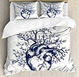 Ambesonne Surrealistic Duvet Cover Set Queen Size, Human Heart Blooming with Tree Leaves Anatomy of Life and Love Concept, Decorative 3 Piece Bedding Set with 2 Pillow Shams, Dark Blue Cream