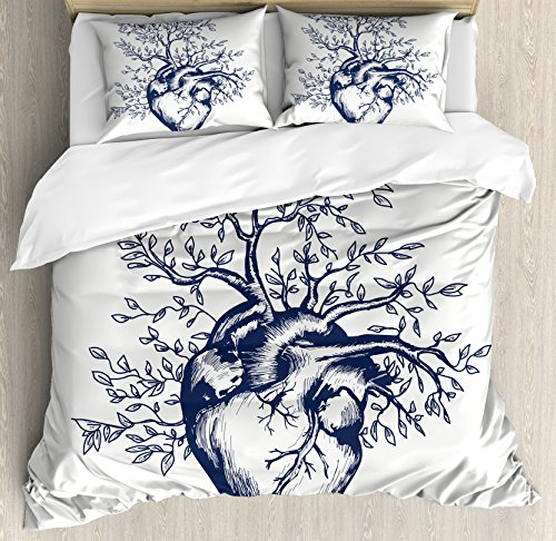 Ambesonne Surrealistic Duvet Cover Set Queen Size, Human Heart Blooming with Tree Leaves Anatomy of Life and Love Concept, Decorative 3 Piece Bedding Set with 2 Pillow Shams, Dark Blue Cream by Ambesonne