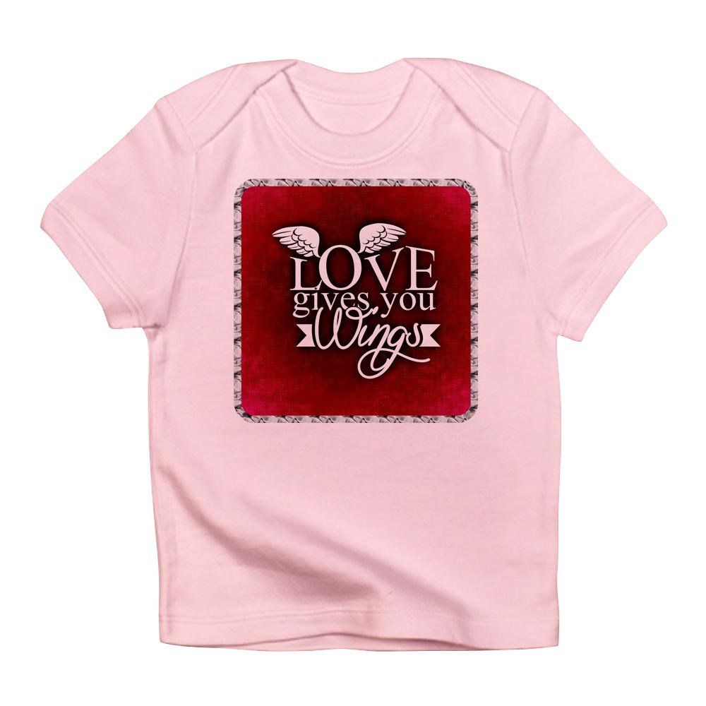 3 To 6 Months Truly Teague Infant T-Shirt Love Gives You Wings Petal Pink