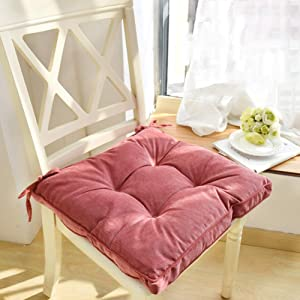 """Nathime Soft Patio Outdoor Chair Pads with Ties Home Decor Indoor Dining Chairs Cushion 16.9""""×16.9""""×3.8"""" Pink"""