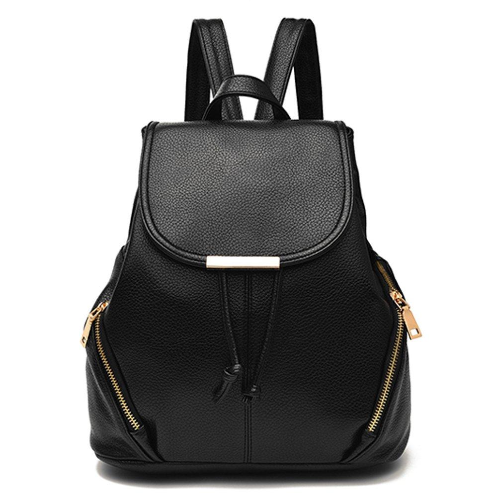 weitine Shoulder Bag for Girls/Women Brand Soft PU Leather Backpack Daypack in Black Color 2 Zipper Pockets Outside