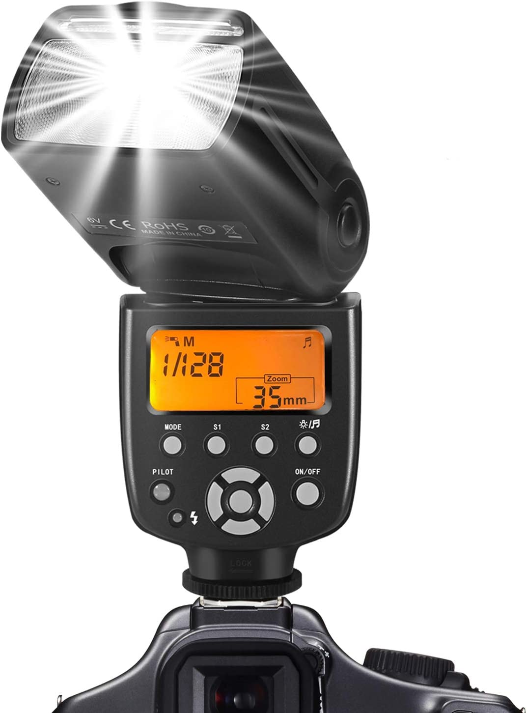 Flash Speedlite, Camera Flash for Canon Nikon Panasonic Olympus Pentax and Other DSLR Flash
