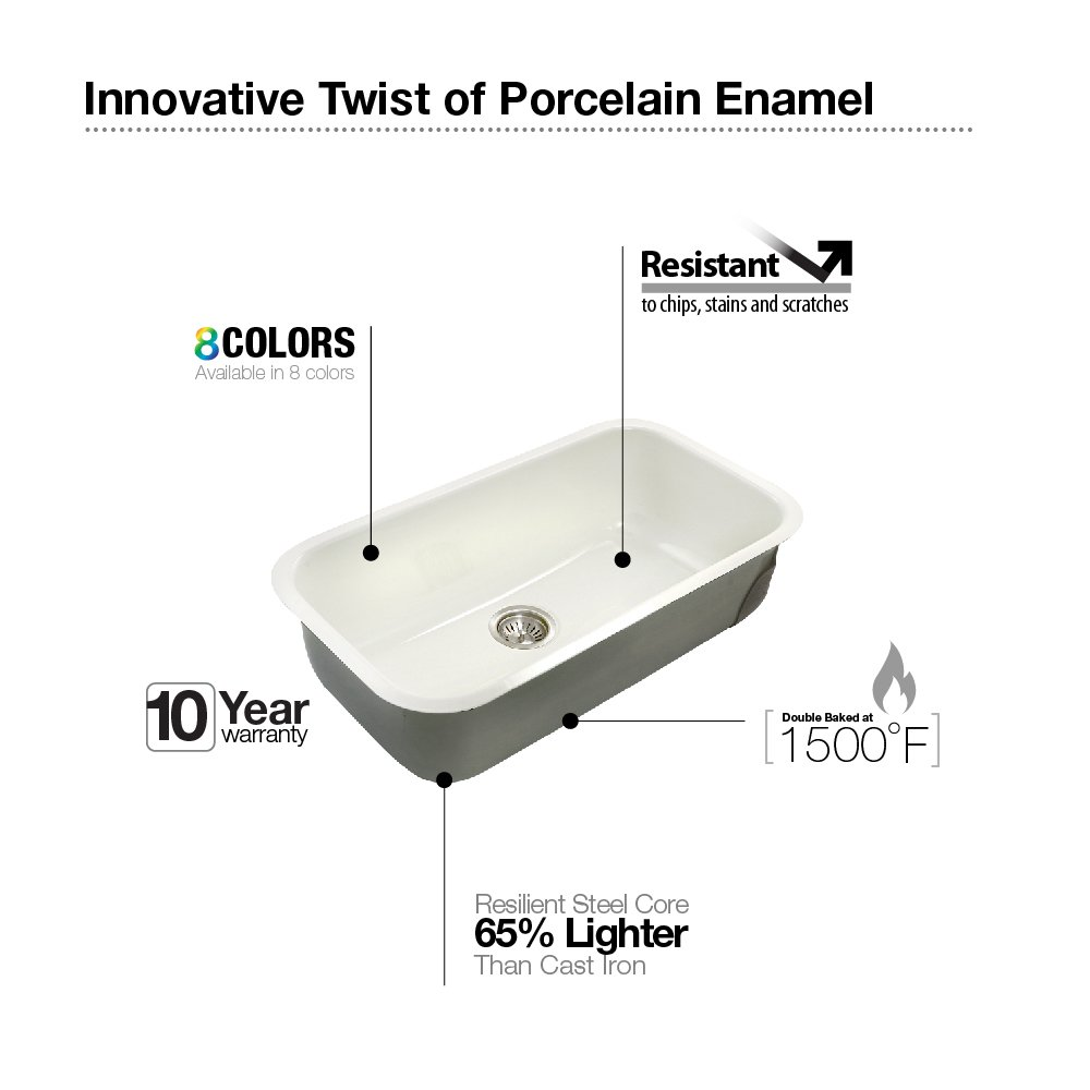 White Enamel Kitchen Sinks Houzer Pcg 3600 Wh Porcela Series Porcelain Enamel Steel