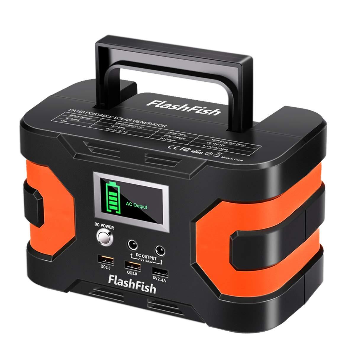 45000mAh Portable Solar Generator, FlashFish 150W Peak Power 200W Power Station Solar Generator, 110V AC Outlet QC3.0 USB Ports Battery Pack for CPAP Outdoor Camping Trip Emergency by FF FLASHFISH