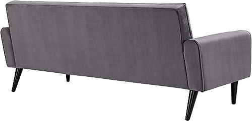 Modway Delve Luxury Button Tufted Upholstered Velvet Sofa In Gray