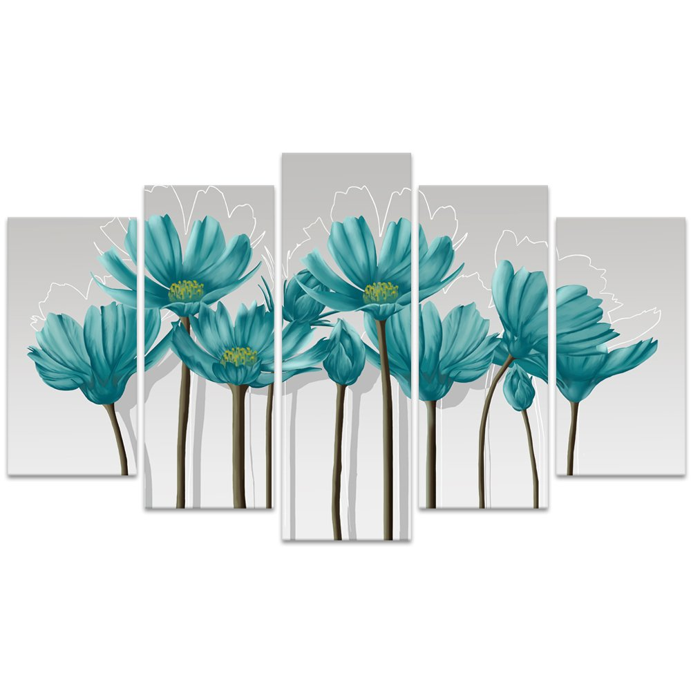 Xiamen Visual Beauty XT180601-1 Visual Art Decor XLarge Teal Grey Wall Art Decoration Floral Painting Calliopsis Flowers Picture Printed on Canvas Gallery Wrap Artwork for Home Living Room Office Decor W-70 xH-32