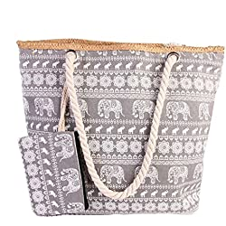 Pulama Womens Large Elephant Print Beach Tote Bag