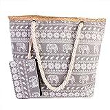 Pulama Womens Large Beach Tote Canvas Shoulder Bag Wave Striped Anchor Summer Handbag Straw Beach Bag Grey Elephant