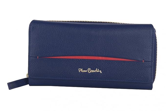 cartera mujer PIERRE CARDIN azul en cuero con abertura zip y boton