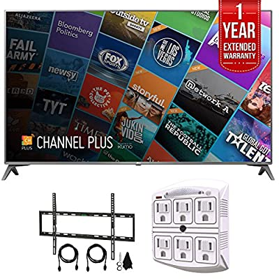 "LG 75"" Class 4K UHD HDR Smart IPS LED TV (75UJ6450) with Flat Wall Mount Kit Ultimate Bundle for 45-90 inch TVs, SurgePro 6 NT 750 Joule 6-Outlet Surge Adapter & 1 Year Extended Warranty"