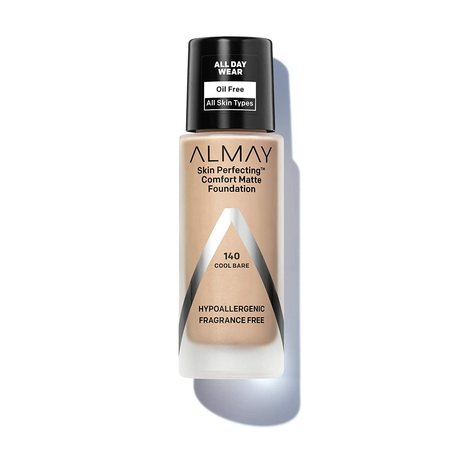 Almay Skin Perfecting Comfort Matte Foundation, Hypoallergenic, Cruelty Free, Fragrance Free, Dermatologist Tested Liquid Makeup, Cool Bare, 1 Fl oz