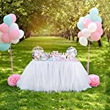 AerWo White Tutu Table Skirts, 30 by 39 inch, Baby Shower Party Baby 1st Birthday Snowflake Wonderland Theme Decorations for Table Decoration