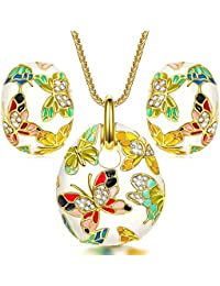 """""""Spring of Versailles"""" Handcrafted Enamel Butterfly Jewelry Set"""