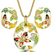 QIANSE Spring of Versailles Gold Plated Handcrafted Enamel Butterfly Jewelry Set, Gift Packing