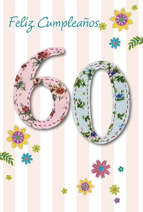 Grupo Erik Editores TF00309 - Tarjeta de felicitación, 11 x 16 cm, diseño Feliz Cumpleaños 60