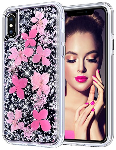 Pink Glitter Flowers - Coolden Case for iPhone X Case
