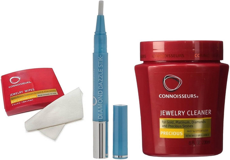 Connoisseurs Kit de Limpieza de Joyeria | Diamante Dazzle Stik 3 en 1, 25 Toallitas Limpiadoras y Solución de 236ml para Limpiar Oro Joyas