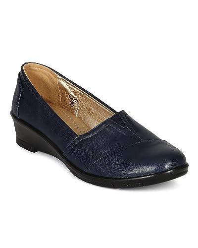 c2c354f4e7e Refresh Women Leatherette Slip On Low Wedge Heel Loafer Flat CJ34 - Navy Blue  Leatherette (