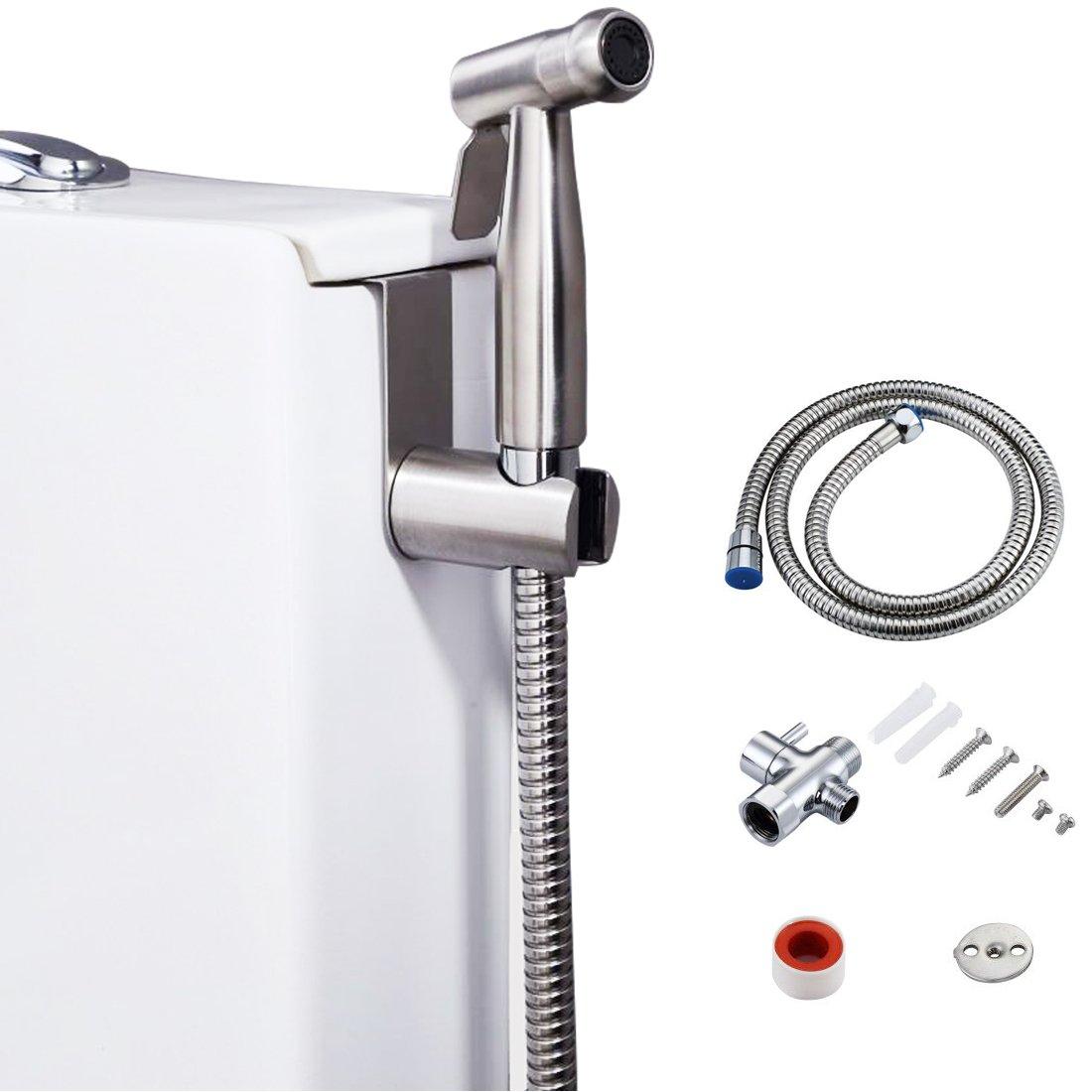 Bidet Sprayer Toilet Sprayer/Handheld Stainless Steel Sprayer with Chrome Finish Brass T-Valve Adapter for Personal Hygiene & Cleaning by Myartte