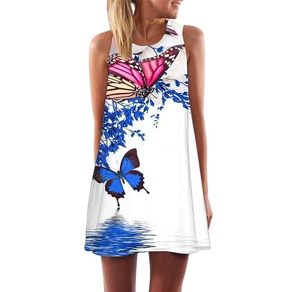 Vestido de mujer, ❤ Manadlian 2018 Vintage mujeres bohemio verano sin mangas flores impresa mini vestido corto camisolas playa Vestidos mujer casual ...