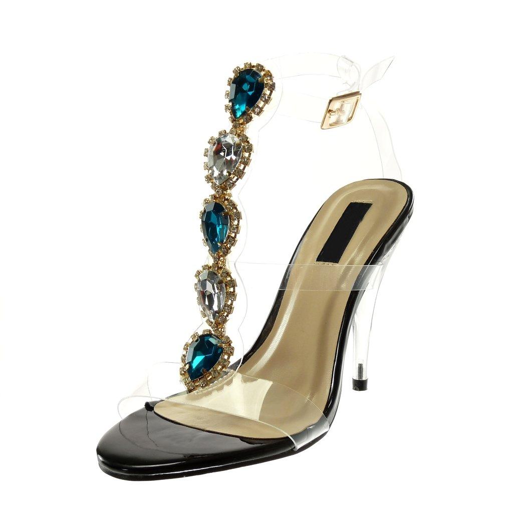 Angkorly Chaussure Mode Sandale Escarpin Montante lani/ère Cheville Femme Bijoux Transparent Strass Diamant Talon Haut c/önique 12 CM