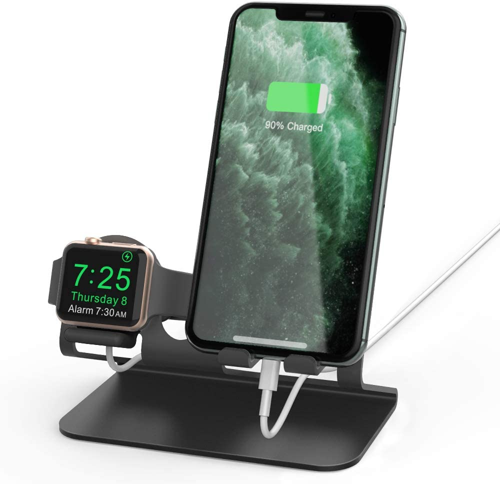 AhaStyle Apple Watch Stand, 2 in 1 Universal Desktop Stand Holder for iPhone and Apple Watch Series 5/4/3/2/1(Black)