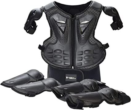 Motorcycle Outdoor Riding Biker Shoulder+Knee+Back Padding Armour Guards