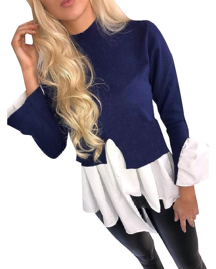 ColourfulWomen Turtleneck Patched Irregular Comfort Tunic Tshirt Tops