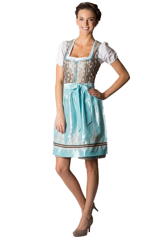 Spieth & Wensky Damen Mini Dirndl Adina beige/blau D010176