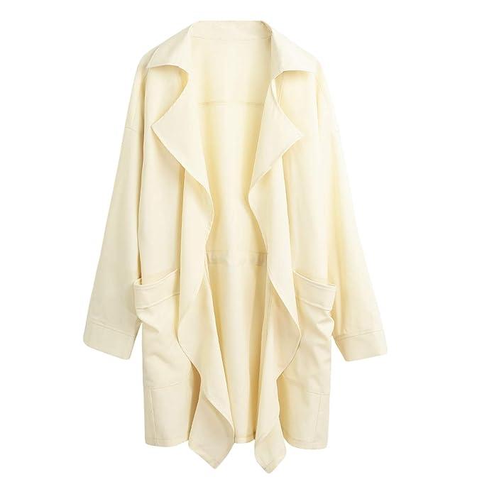 2019 Otoño Mujeres Trench Coat Bolsillo de Manga Larga Casual Cardigan Ropa de Abrigo Suelta Moda Casual 5XL Tallas Grandes Cortaviento Largo: Amazon.es: ...