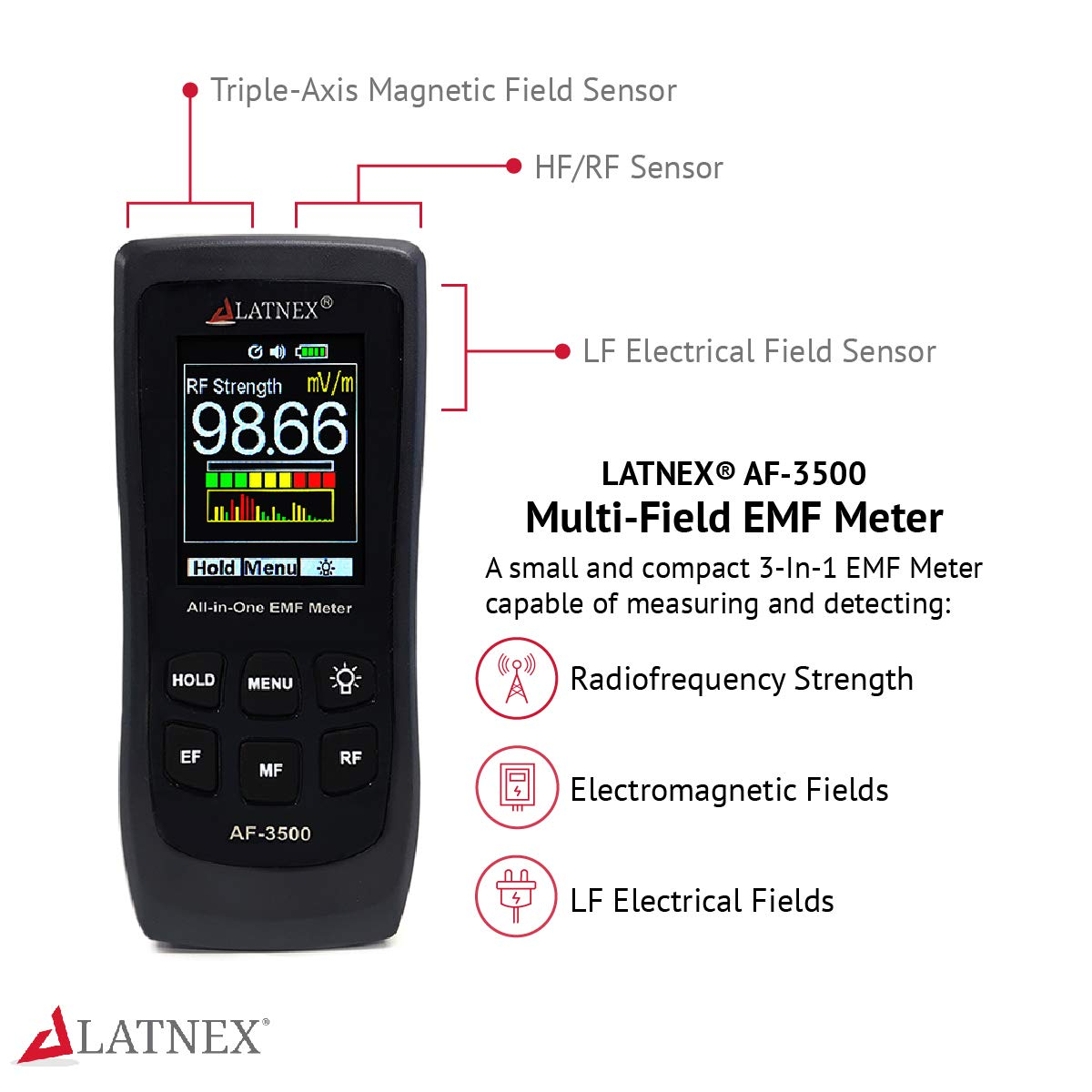 3-Axis Gauss or Tesla Magnetic Fields and V//M Electrical Fields ELF LATNEX AF-5000 5G EMF Meter RF Detector and Reader with Calibration Certificate Tests and Measures RF and Microwaves
