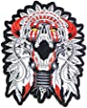 "9"" Big Native American Indian Chief Feather Skull Ghost Skeleton Outlaw Biker Rider Hippie Punk Rock Heavy Metal Tatoo Patch Sew Iron on Embroidered Sign Badge"