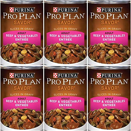 6 Cans of Purina Pro Plan Savor Adult Beef & Vegetables Entree Slices in Gravy Canned Dog Food, 13-oz ()