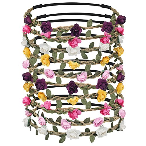Shintop 10pcs Rose Flower Headbands Sweetly Floral Garland Wreath for Wedding Festival Photography -