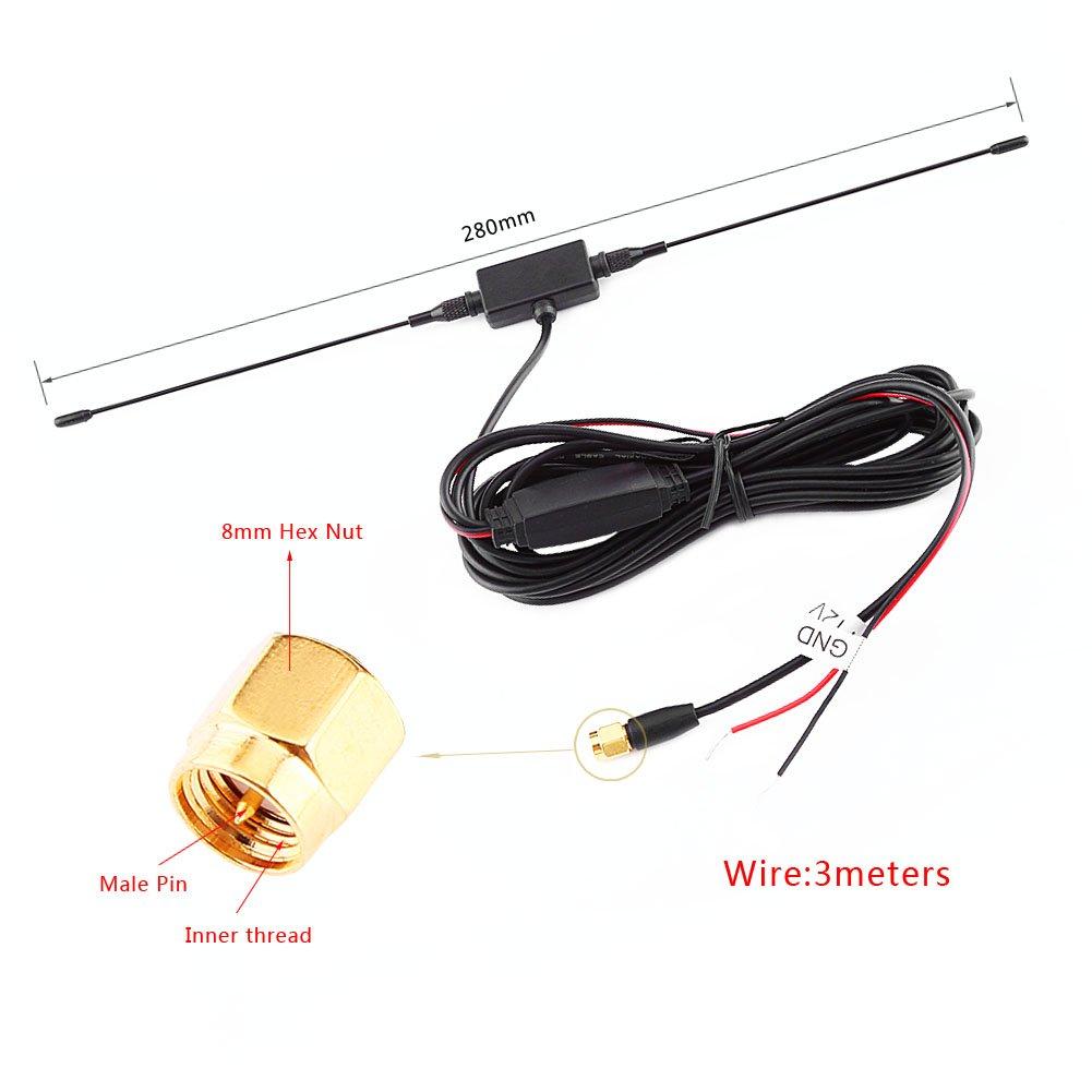 Antenna TV digitale SMA Antenna TV digitale per auto Antenna SMA maschio con amplificatore integrato per TV digitale Forte segnale di ricezione