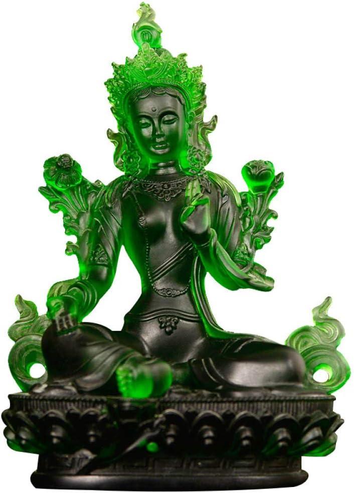 ZCXBHD Adornos De Cristal Verdes De La Estatua De Buda Regalos De Inauguración De La Casa Estatua De Cristal Verde De Tara,9 * 5.5 * 12CM