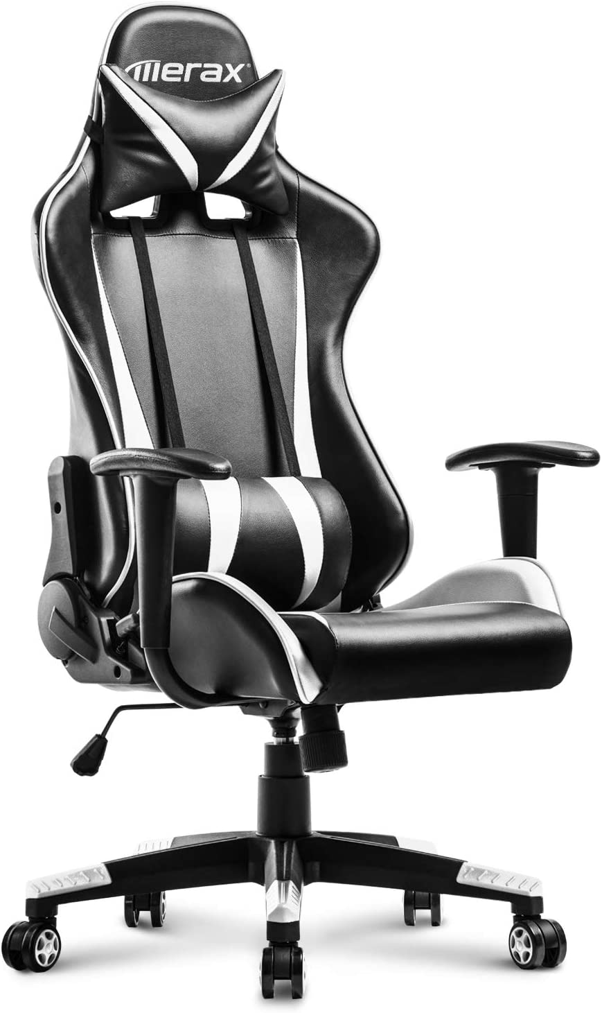 MIERES Racing Gaming High-Back Ergonomic Design Computer PU Leather Office Chair, White-033843