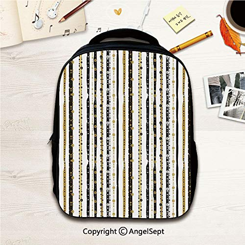 (With Multi-Function Waterproof Material Bags,Vertical Lines with Round Circle Shapes Victorian Inspired Designed Art Print Black Golden 12.2inches,With Multi Pocket Polyester)